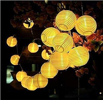 Cadena de luces solares para exteriores, farolillos de decoración para jardín, patio, boda, decoración festiva, blanco cálido, 5 M/20 LEDs: Amazon.es: Iluminación