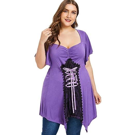 ddd15e1a1b5e4 Amazon.com  Rosegal Sweetheart Neck Lace Up Handkerchief Short Sleeve Womens  T-Shirts Plus Size  Clothing