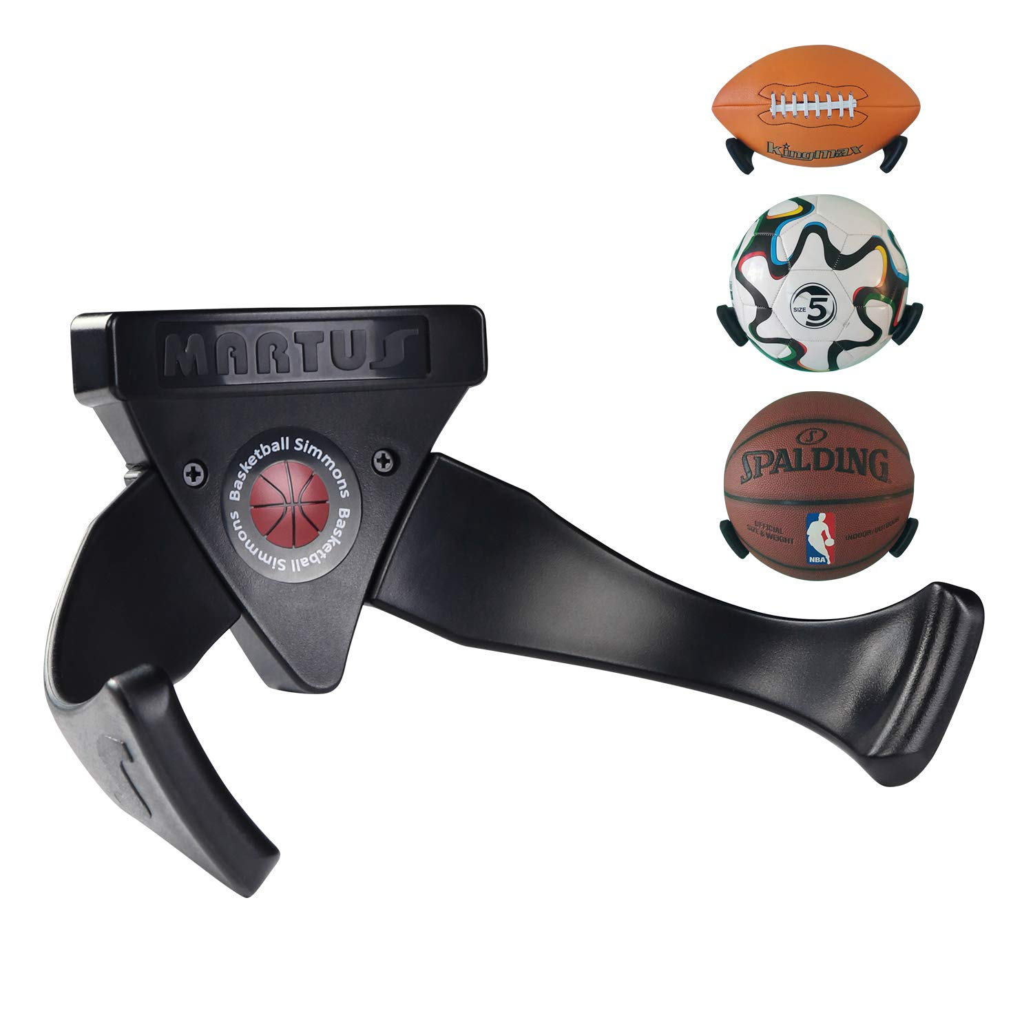 Evibooin Wall Mounted Space Saver Display Basketball Football Soccer Volleyball Sports' Ball Holder Claw Black