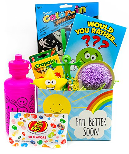 Nine at Thirty-Nine Get Well Gift Basket for Kids with Toys, Activities and Candy | Just Right for Children Who are Sick or Recovering | Girls Ages 3-10 | Colors May Vary (Pink/Purple)