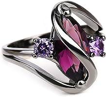 ECYC Trendy Engagement Wedding Rings Women Horse Eye Cz Black Gold Rings, Size 5-10