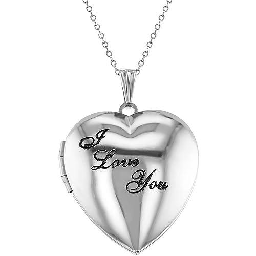 """51e167f66d Collana con ciondolo portafoto con scritta in inglese """"I Love You"""",  placcato al"""