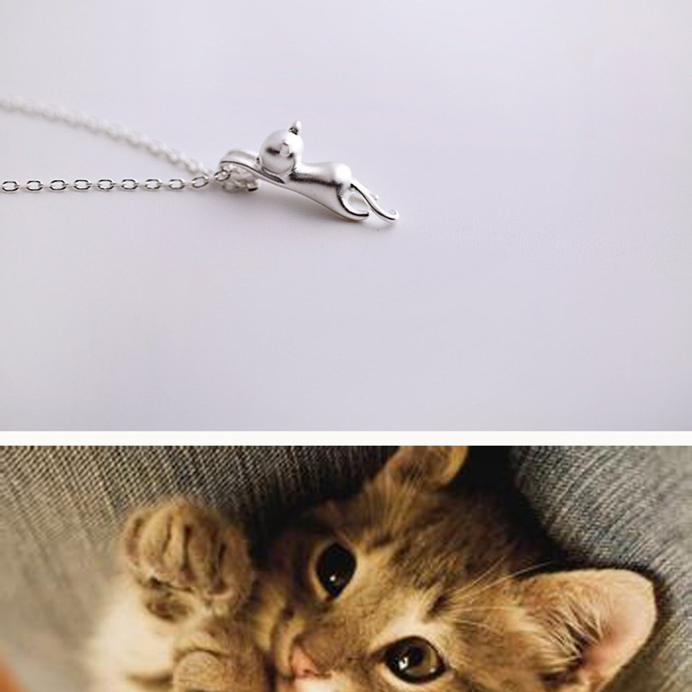 lauhonmin 2 Style Silver 3D Cute Cat Matte Surface//Smooth Kitty Pendant Necklace Gift for Family Friends Sister