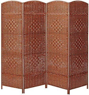 Decorativo Independiente 4 con bisagras Panel tejido marrón madera privacidad habitación separador partición protector de: Amazon.es: Hogar