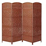 Product review for Decorative Freestanding 4 Hinged Panel Woven Brown Wood Privacy Room Divider Partition Screen