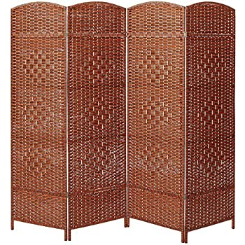 Decorative Freestanding 4 Hinged Panel Woven Brown Wood Privacy Room  Divider Partition Screen. Amazon com  Decorative Freestanding 4 Hinged Panel Woven Brown