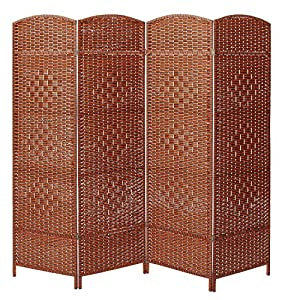 MyGift Decorative Freestanding 4 Hinged Panel Woven Red-Brown Wood Privacy Room Divider Partition Screen