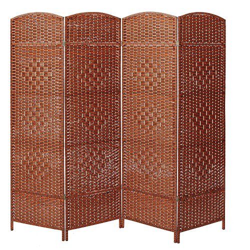 - MyGift Decorative Freestanding 4 Hinged Panel Woven Brown Wood Privacy Room Divider Partition Screen