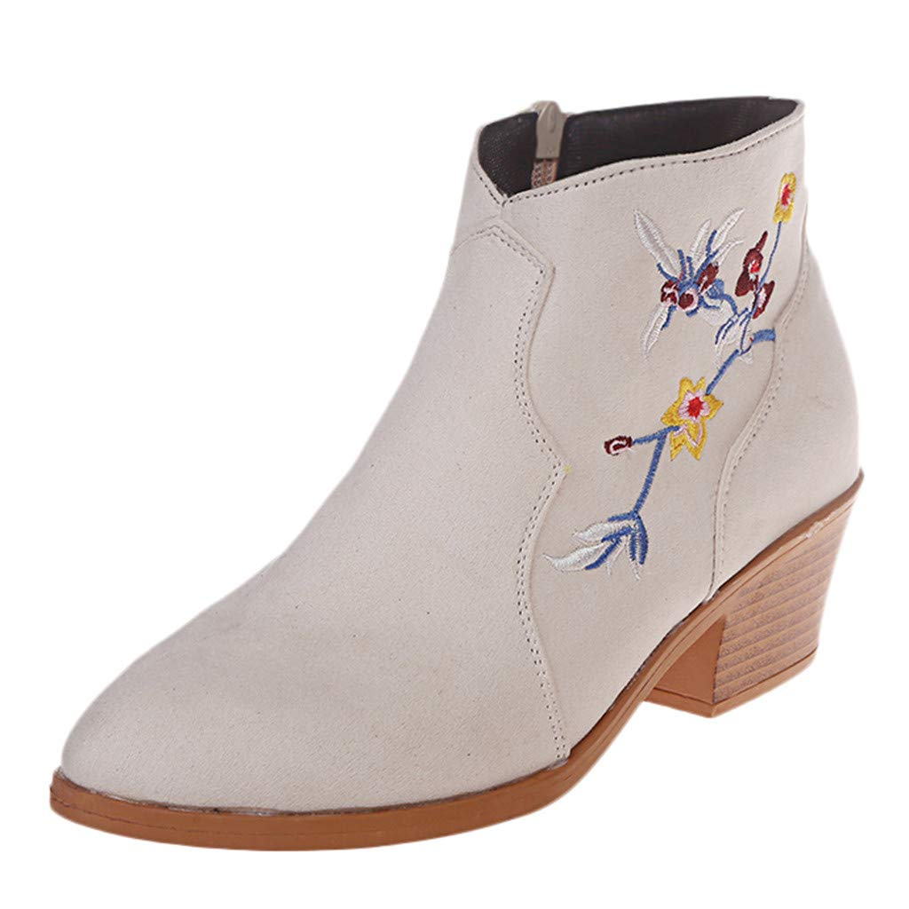 Dermanony Women's Vintage Ankle Boots Comfortable Floral Embroidery Pointed Toe Low-Heeled Flats Suede Zipper Booties Beige by Dermanony _Shoes