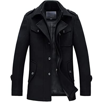 Amazon.com: iPretty Classic Wool Single Breasted Pea Coat Zipper