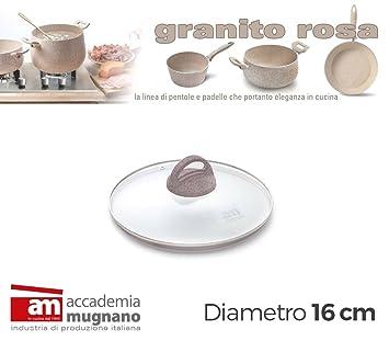 Tapa vidrio 16cm ollas cacerolas y sartenes - Accademia Mugnano GRANITO ROSA: Amazon.es: Hogar