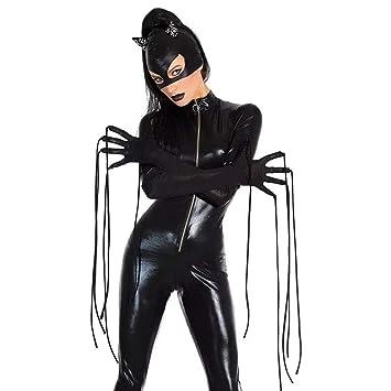 Disfraz De PU De Cuero De Patente Vampiro Batman Onesies Wetlook Jumpsuit para Mujer Adulto Halloween