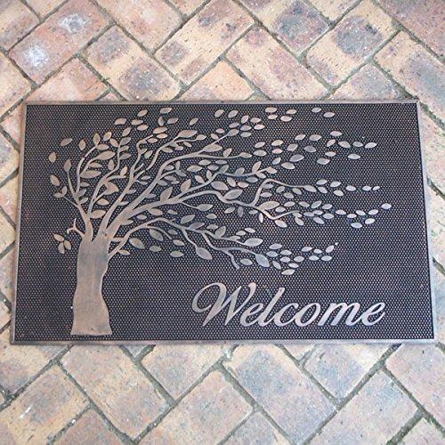 玄関用ラバーマット レクト 75×45cm 樹木のデザインのウェルカムマット