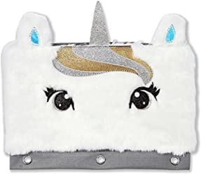 Justice School Faux Fur Pencil Case Gold Unicorn