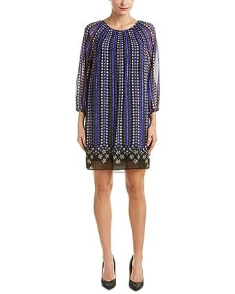 Max Studio Women s Blue Black Border Print Peasant Shift Dress 4984d54ea