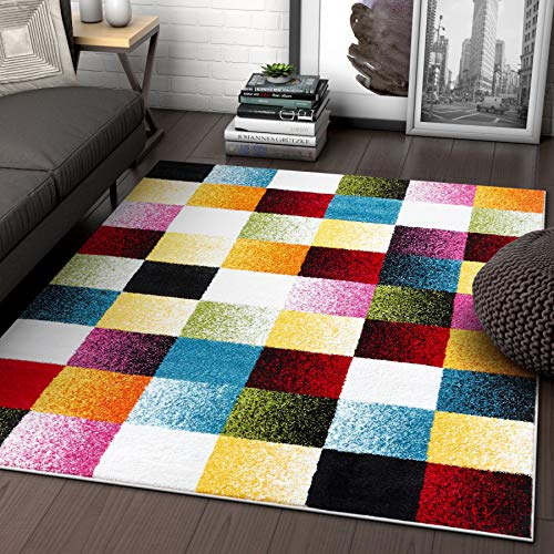 (Well Woven Exuberance Multicolor Checkered Boxes Geometric 8x10 (7'10
