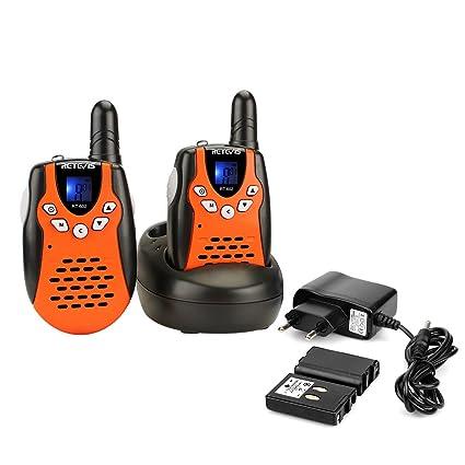 Retevis RT602 Walkie Talkie Niños Recargable PMR446 8 Canales Pantalla LCD VOX Linterna Regalo para Niños Walkie Talkie Juguete con Cargador y Batería ...