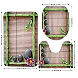 3 Piece Bathroom Mat Set,Meditation,Spa Frame with Spiritual Stones Bamboo Stems Orchid Petals Yoga Zen Philosophy,Multicolor,Bath Mat,Bathroom Carpet Rug,Non-Slip