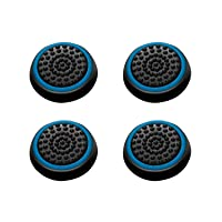 INSTEN [2 Pair / 4 Pcs Wireless Controllers Silicone Analog Thumb Grip Stick Cover, Game Remote Joystick Cap Compatible with PS4 Dualshock 4/ PS3 Dualshock 3/ PS2 Dualshock/Xbox One/360, Black/Blue