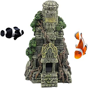 kathson Aquarium Decoration Fish Tank Ornament Resin Ancient Rock Face Betta House Fish Hideout Shelter for Shrimp Bettas Small Aquatic Animals