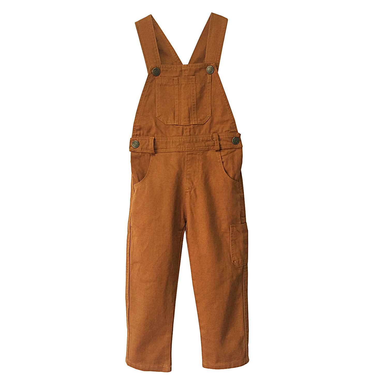 Grandwish Boys' Brown Bib Overall Size 6