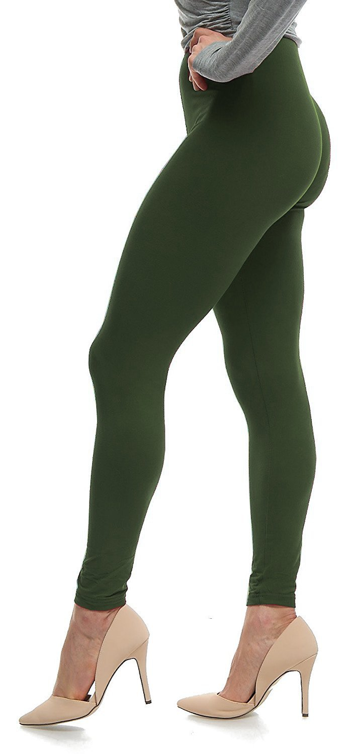 Lush Moda Extra Soft Leggings - Many Colors - Wilderness Green- One Size by LMB (Image #1)