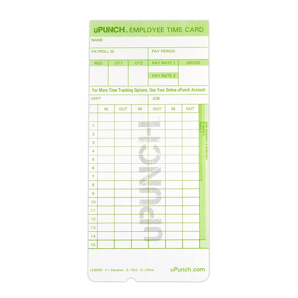 uPunch 300 Time Cards for Green HN3000 AutoAlign Time Clocks (HNTCG1300) by uPunch