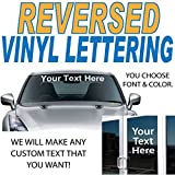 """1"""" High by Up to 10"""" Long / Reverse Vinyl Lettering / Sold Per Line / Made to apply inside any window to read correctly from the outside / Custom windshield glass door sticker decal / by 1060 Graphics"""