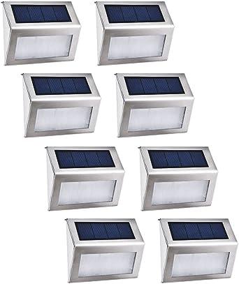 8X Luz Solar Jardin, Blanco Frío 3 LEDs Ilumina Para Jardín Apliques LED Solares Para Exterior Inoxidable Para Jardín Escalera: Amazon.es: Iluminación