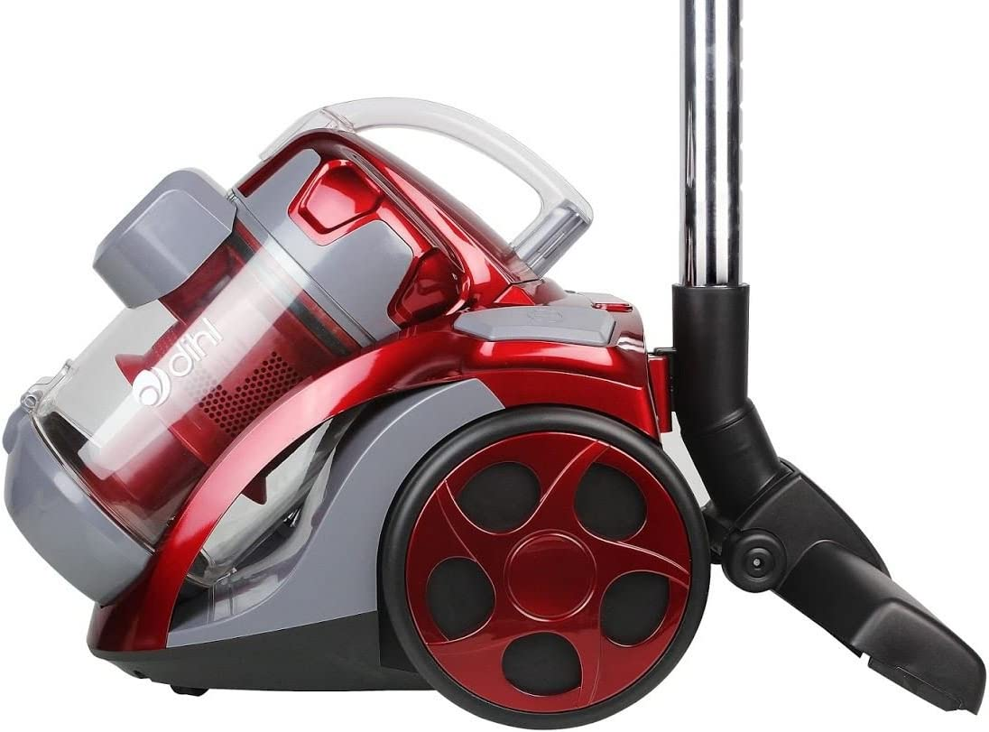Dihl VC XS701 RED Cylinder Cyclonic Bagless Powerful Compact Lightweight Vacuum Cleaner with HEPA Filtration, 2 Litre, 1400 W, Red