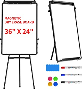 Easel Whiteboard-Magentic Tripod Portable Dry Erase Board 36 x 24inches Flipchart Easel Board with Stand for Office or Teaching at Home & Classroom(Black)