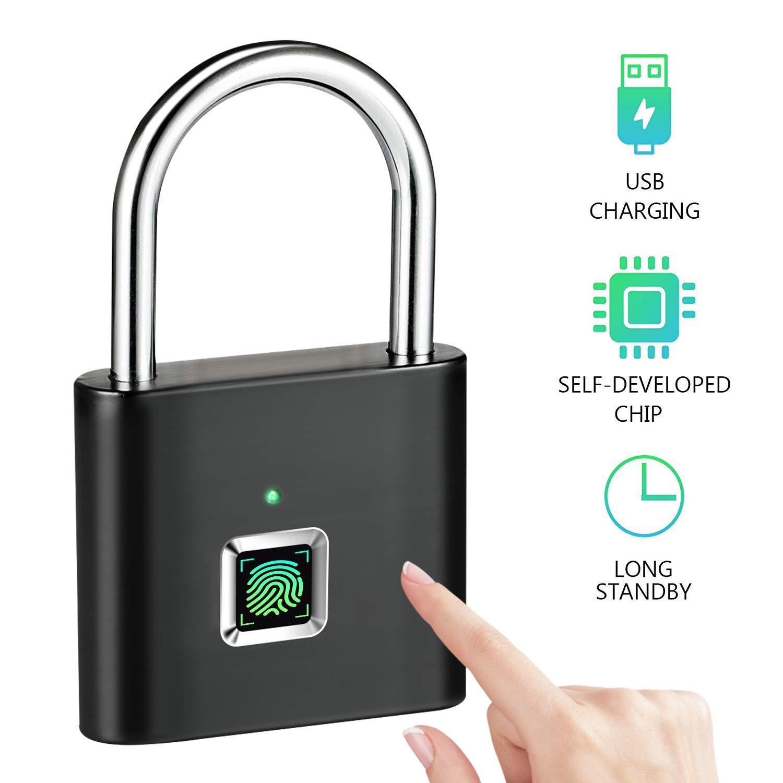 Fingerprint Lock Tongwode Smart Padlock, 360° Fingerprint Recognize Security Thumbprint Door Padlocks, Micro USB Rechargeable IP62 Portable Anti-Theft Fingerprint Lock for Bag, Drawer, Suitcase