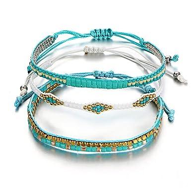 728dcd523ed5 Yakiki Bohemia Beads Tejido Cuerda Amistad Pulseras para Mujeres ...