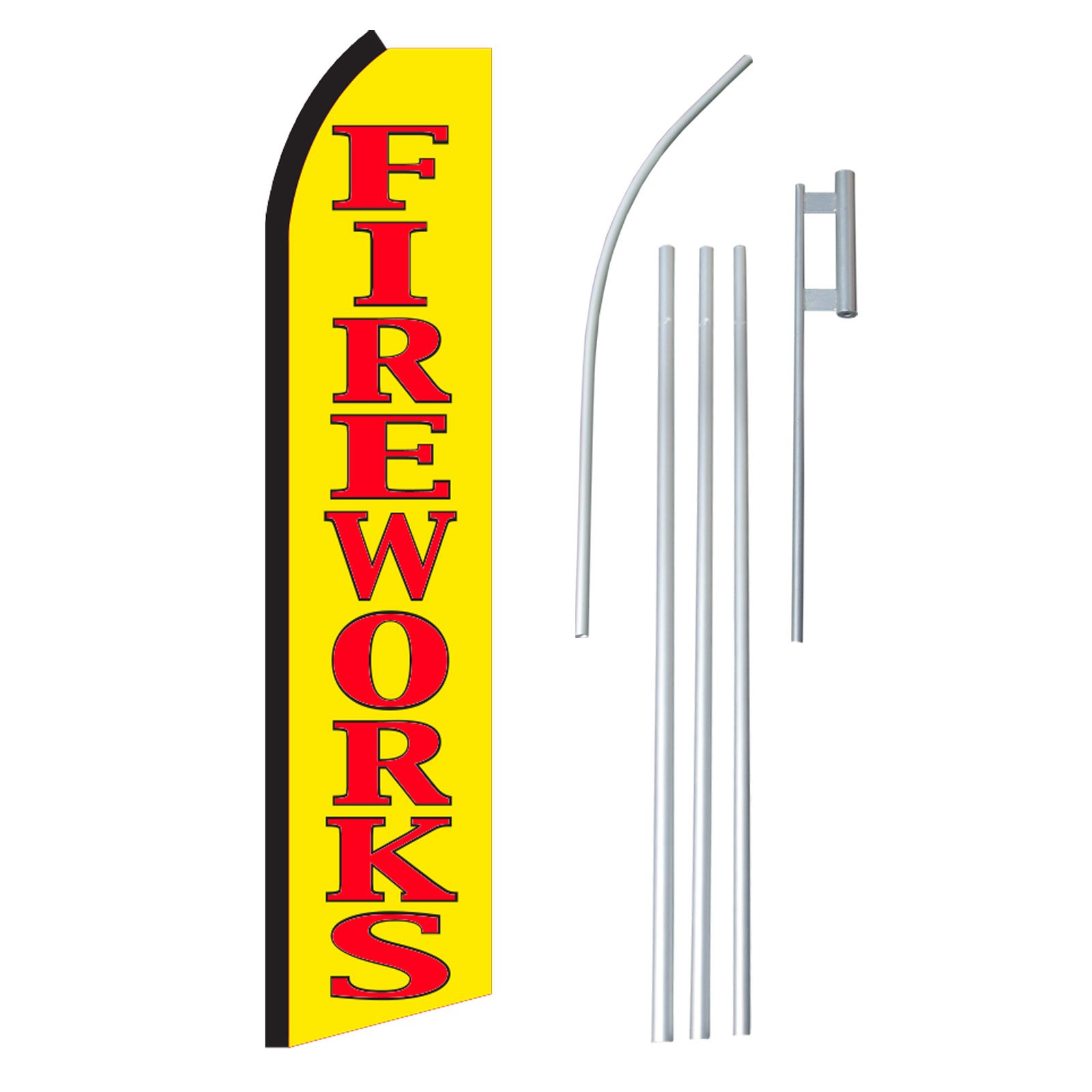 NEOPlex - ''Fireworks'' Complete Flag Kit - Includes 12' Swooper Feather Business Flag With 15-foot Anodized Aluminum Flagpole AND Ground Spike
