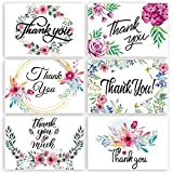 Thank You Cards 48 Floral - Markline 6 Designs Watercolor Thank You Notes Bulk Set with Envelopes and Stickers for Wedding, Graduation, Baby Bridal Shower, Birthday Party, Blank Inside, 4 x 6 Inches
