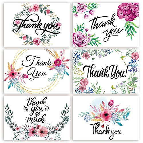 (Thank You Cards 48 Floral - Markline 6 Designs Watercolor Thank You Notes Bulk Set with Envelopes and Stickers for Wedding, Graduation, Baby Bridal Shower, Thanksgiving, Blank Inside, 4 x 6 Inches)