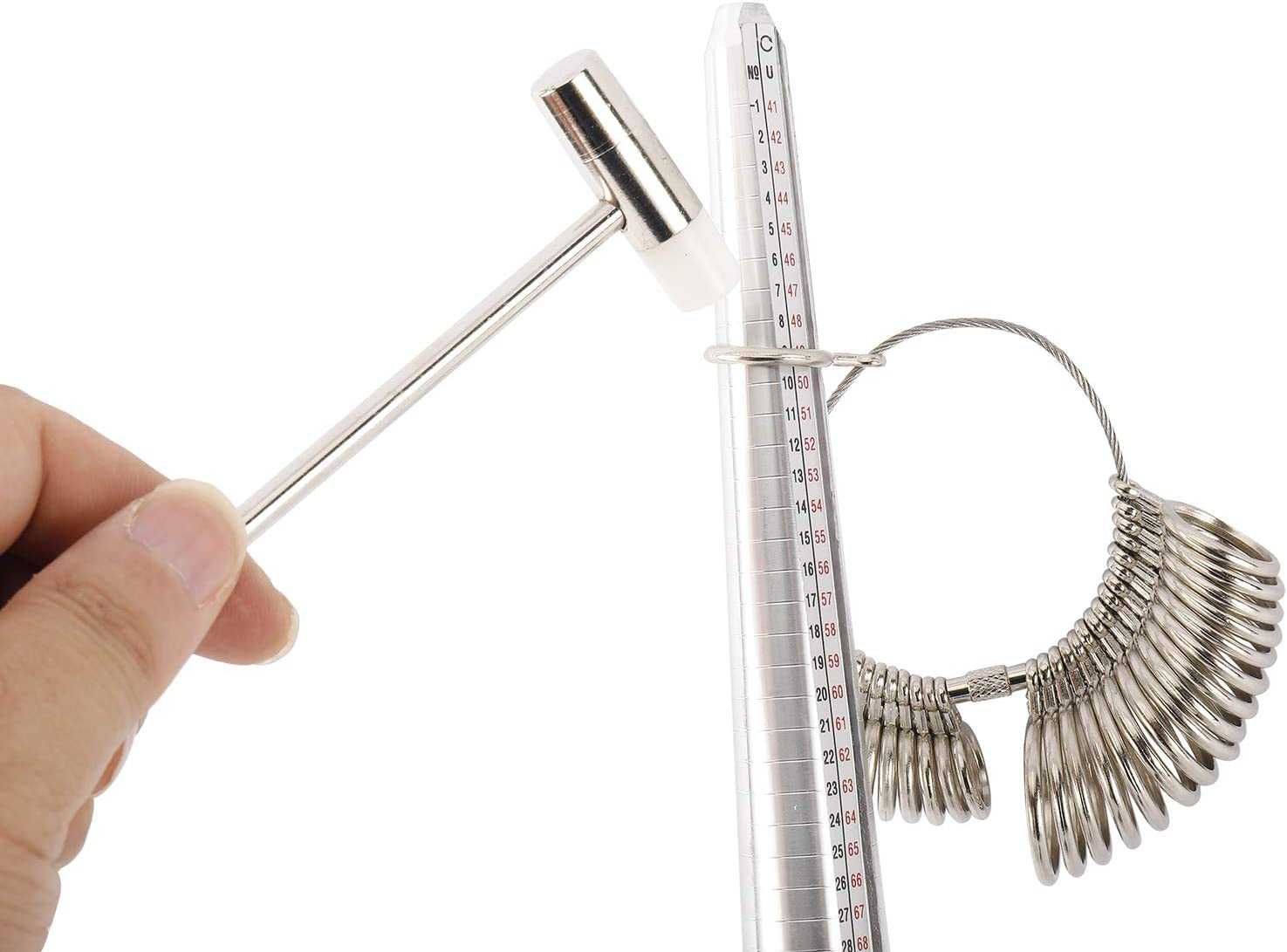 Mini Jewelry Hammer Buffing Bars and Storage Bag 27 pcs Ring Sizer Gauge 9Pcs Jewelry Ring Making Tools Ring Clamp Jewelry Cleaning Cloth Measuring Stick Ring Size Gauge