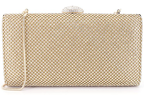 Dexmay Large Rhinestone Crystal Clutch Evening Bag Women Clutch Purse for Cocktail Prom Party Gold