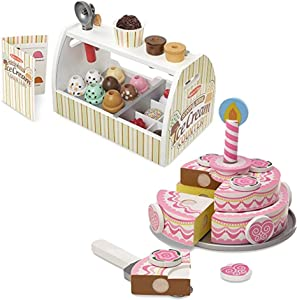 Melissa & Doug Bundle Includes 2 Items Wooden Scoop and Serve Ice Cream Counter (28 pcs) - Play Food and Accessories Triple-Layer Party Cake Wooden Play Food Set