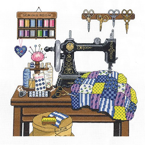 Janlynn 14 Count Antique Sewing Room Cross Stitch Kit, 12 by 12-Inch -