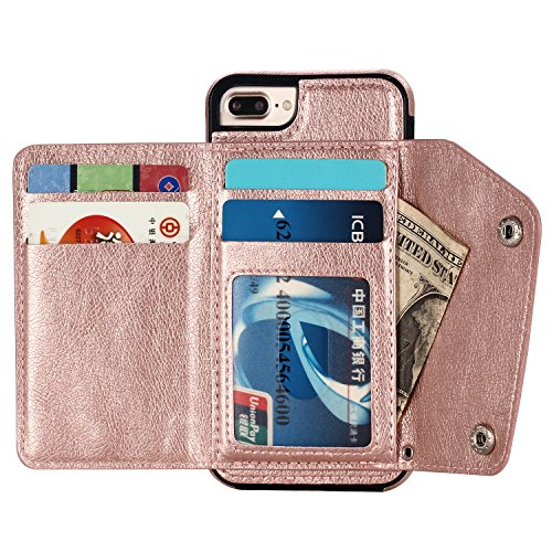 (iPhone 7 plus Wallet Case with Strap Designer Apple 8 plus Back Flip Cover with Kickstand Card Holder Protective Shockproof Leather Soft Purse Case Credit Card Slot 5.5 Inch (Pink, iPhone 7/8 plus))