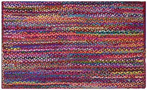 COTTON CRAFT – 2×3 Feet Rectangular Rag Rug – Multi Chindi Braid Rug, Hand Woven Reversible – Handwoven from Multi-Color Vibrant Fabric Rags