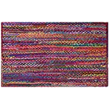 Cotton Craft - Hand Woven Reversible 100% Cotton Multi Chindi Braid Rug - 2 x 3 Feet - This Rug is made from multi color re-cycled yarns, actual product may vary in color from the image shown