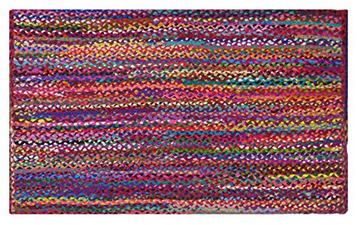 (Cotton Craft - 2x3 Feet Rectangular Rag Rug - Multi Chindi Braid Rug, Hand Woven & Reversible - Handwoven from Multi-Color Vibrant Fabric Rags)