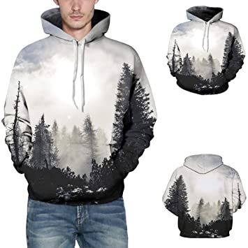 Amazon.com Snowfoller Fashion Men 3D Printing Hoodie Casual