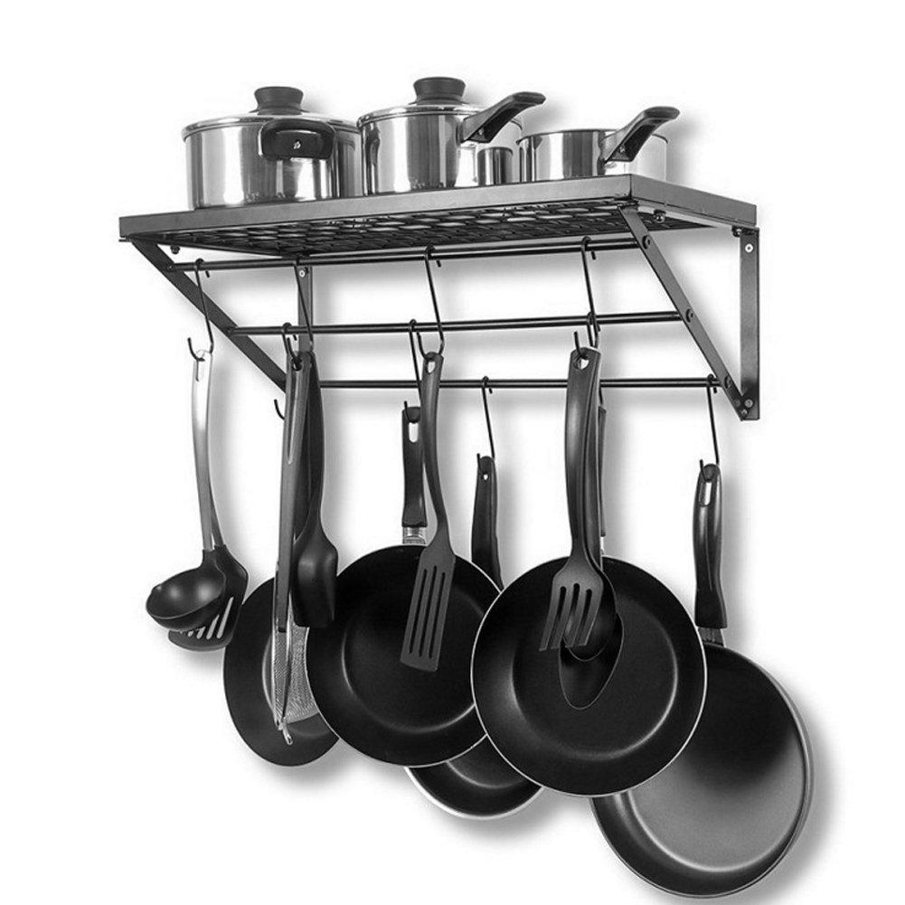 Negro 62 * 25.5 * 25cm Estante de la Olla Sart/én Estanter/ía Colgante de Pared con 10 Ganchos Organizador de Almacenamiento de Cocina Metal