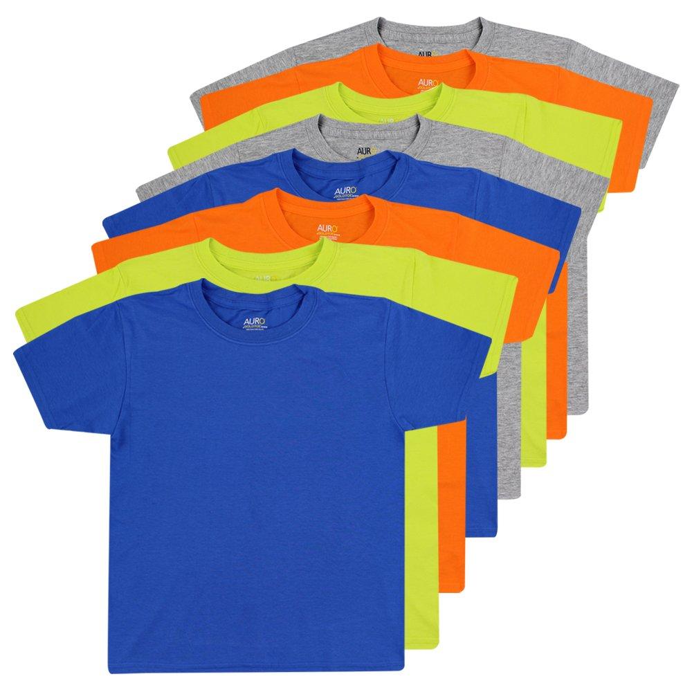 AURO Boys Premium Cotton Comfort Crew Neck Tees - 8 Pack, XS