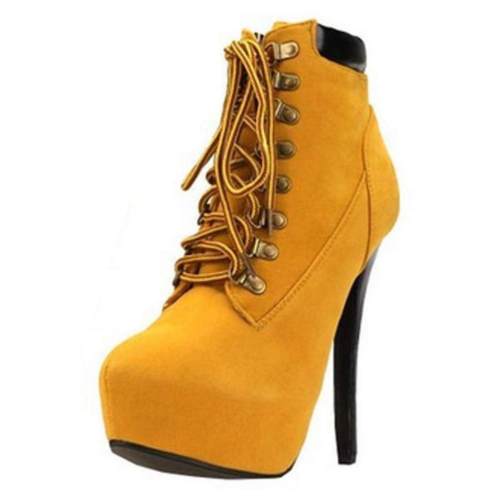 Minetom Damen Sexy Boots Stilettos Spitzschuh Schnürschuhe Knöchel Stiefeletten Super High Heels  EU 38|Braun