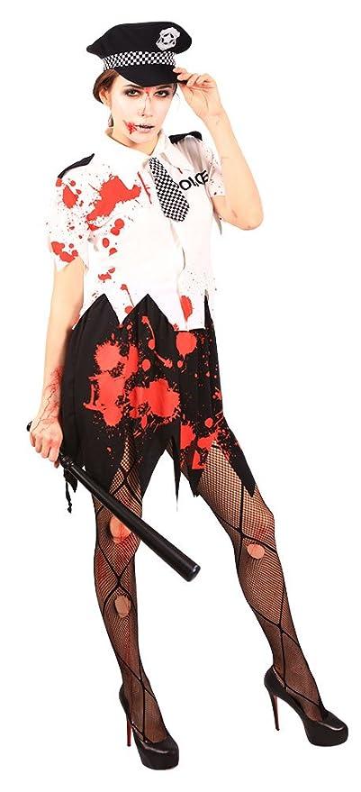 b4c87263685938 Karneval-Klamotten  Kostüm blutige untote Polizistin Zombiekostüm Damen  Halloween Karneval Horror Damenkostüm Größe 40