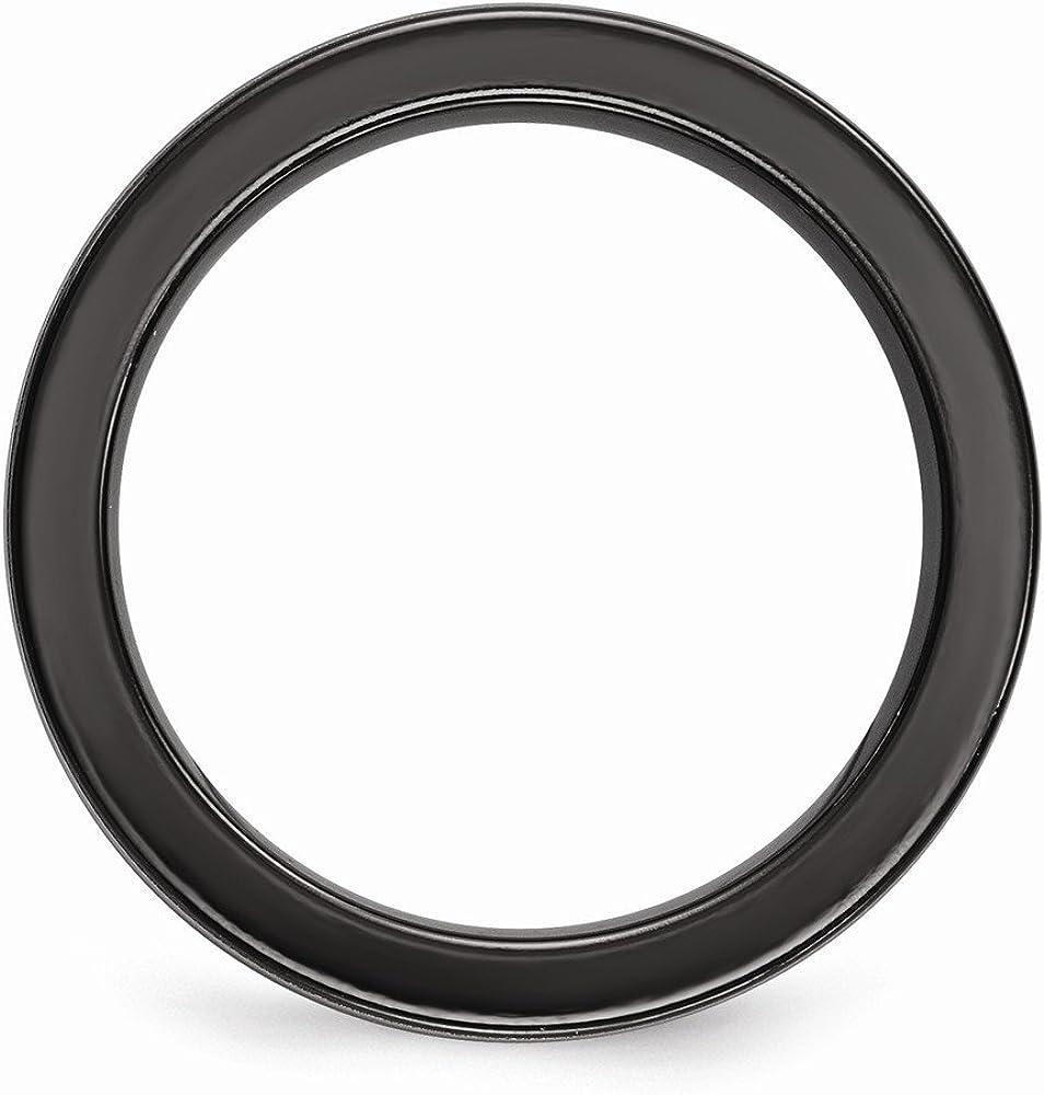 FB Jewels Solid Edward Mirell Black Titanium /& Titanium Polished Grooved Concave Ring